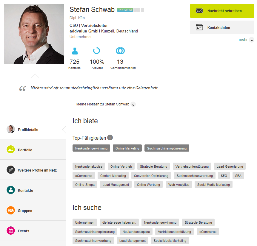 Xing-Profil von unserem Vertriebsleiter Stefan Schwab